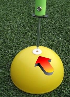 Base in plastica a semisfera con riduzione