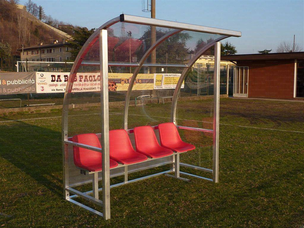 Panca bordo campo calcio Modello Curva Extra a 4 posti