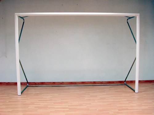 Coppia di porte da calcio in alluminio a sezione tonda con bussole Dimensioni mt 4 x 2