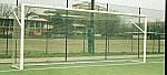 Coppia di porte da calcio in acciaio verniciato da fissare con bussole dimensioni mt 6 x 2,20