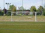 Coppia di porte da calcio in alluminio a sezione ovale con bussole Dimensioni mt 5 x 2